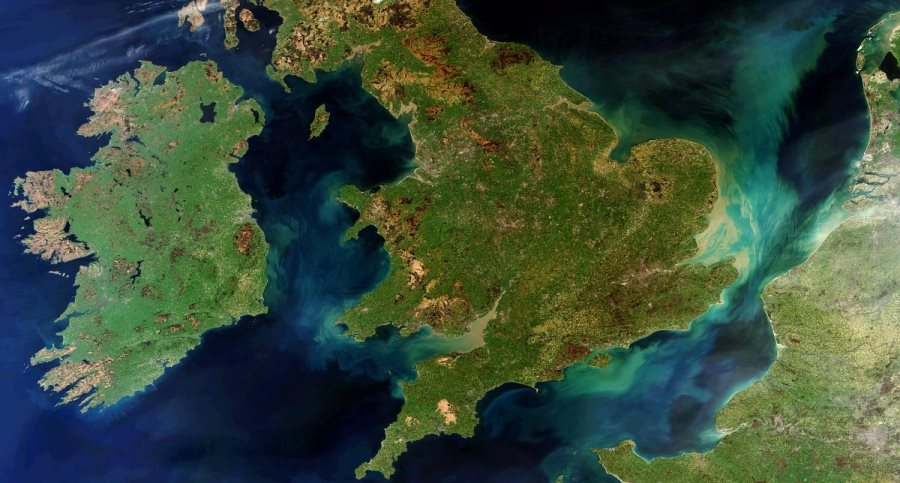 Image of Ireland, Great Britain and Northern France from space.