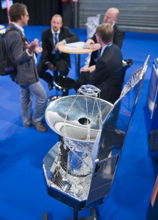 Image of a model of the Herschel Space Telescope at the UK Space Cnference 2013