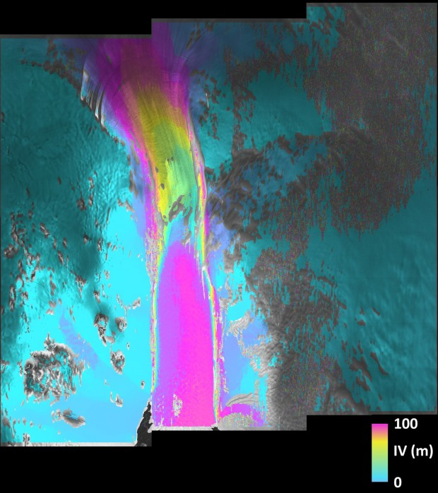 Pine Island Glacier on Sentinel-1A radar. Credit: Copernicus data (2015)/ESA/A. Hogg/University of Leeds, Centre for Polar Observation and Modelling (CPOM).