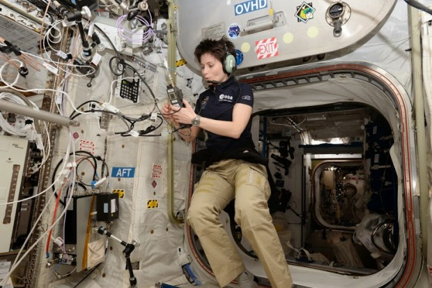 Samantha Cristoforetti IZ0UDF using the amateur radio station in the ISS Columbus module.