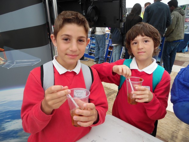 Students with their 'healthy pee'