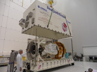 LPF is unpacked from the transport container at the facility in Kourou (10th October 2015)