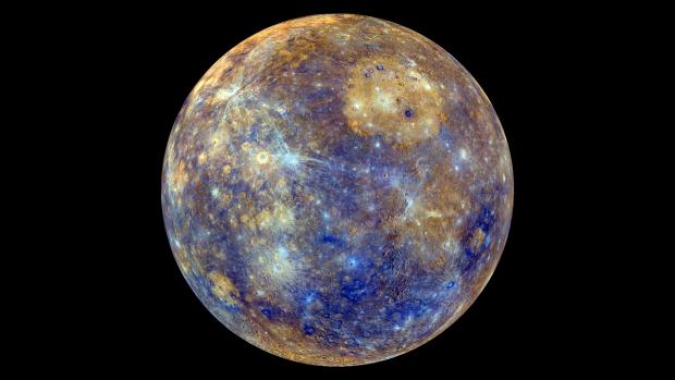 False colour view of Mercury. Credit NASA