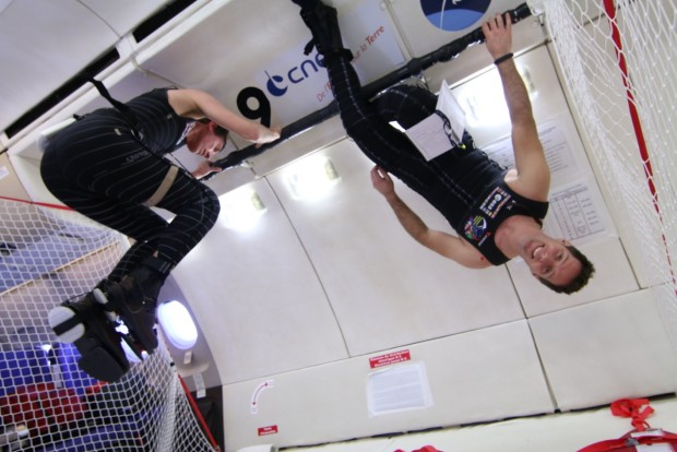 ESA Astronaut Thomas Pesquet testing the SkinSuit on a parabolic flight. Credit: CNES/Novespace, 2014