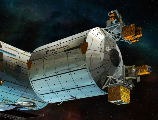 How the European Columbus module of the ISS will look with ACES externally mounted. Credit: ESA - D. Ducros