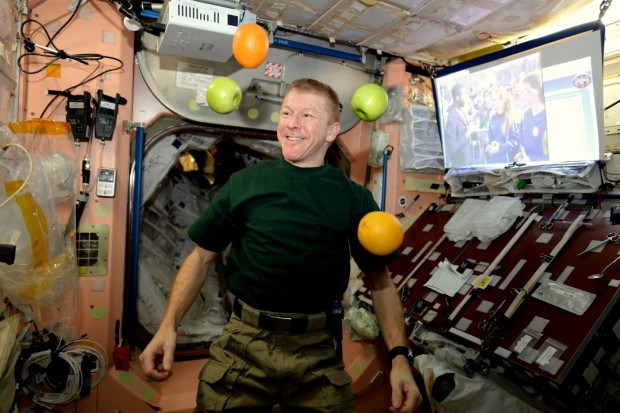 Tim Peake does his best to keep healthy in space. Scientists are working to understand how spaceflight affects astronauts' immune systems and microbiomes (the microbes which live in and on everyone's body). Image credit: ESA/NASA.
