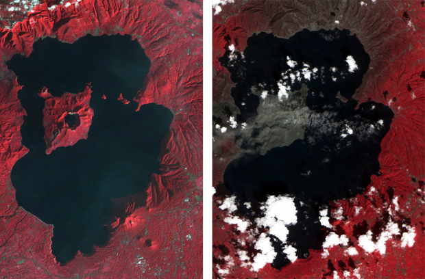 Satellite image of before and after of Taal, Philippines eruption