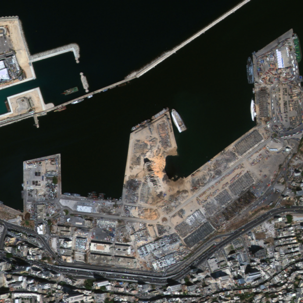 Satellite image of Beirut, Lebanon, Industrial Accident Charter Call 765