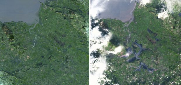 Before and After Somerset Floods, UK, in Natural Green.