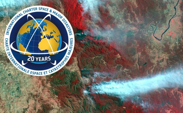 Satellite image of Australia Fires with Disaster Charter logo