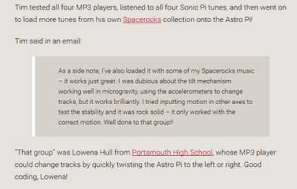 A email from Tim Peake saying Lowena's code worked great on the ISS