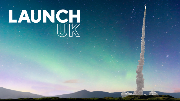 LaunchUK logo with rocket launching in the distance