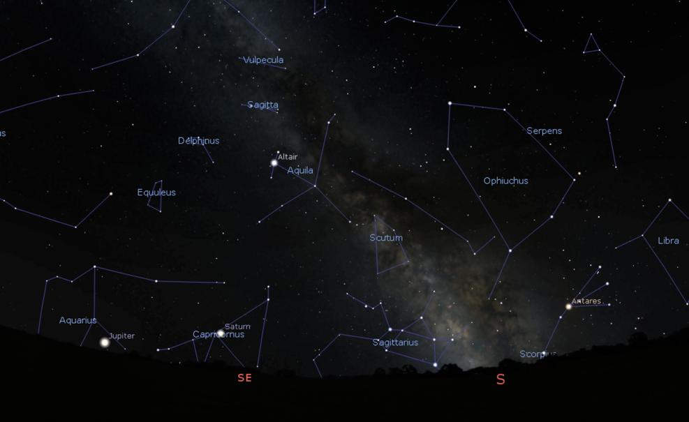 Credit: Stellarium.org. The southern night sky as photographed above. To observe the Milky Way core this month, you'll need to wait until around 1am, get as far away from light pollution as possible, and have an unobstructed view to the south