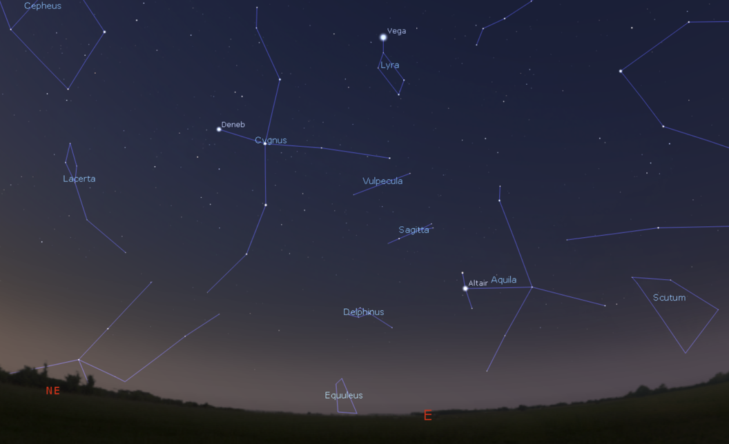 Credit: Stellarium.org. The Summer Triangle is made up by the stars Vega, Altair and Deneb.