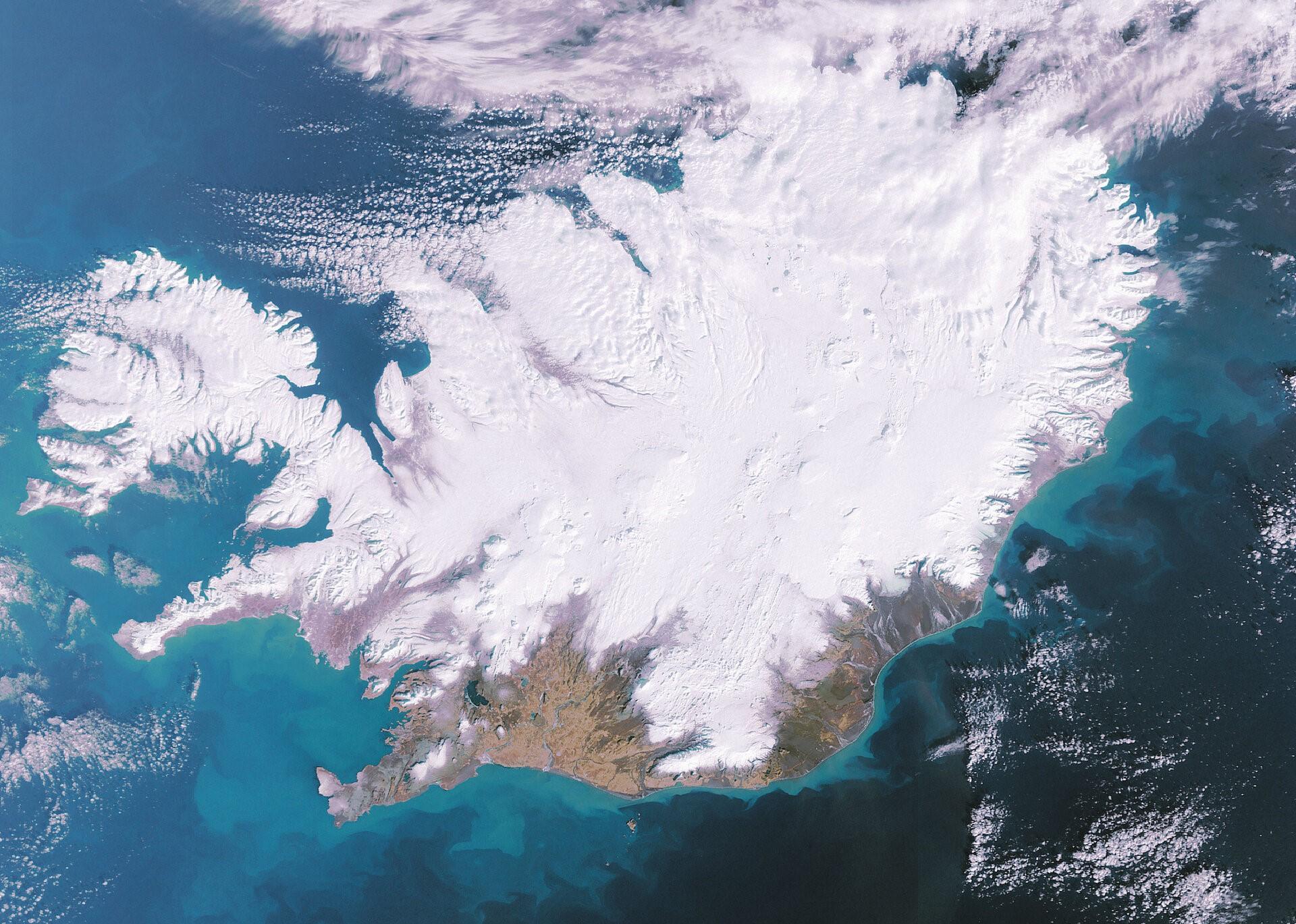 Satellite image of Iceland