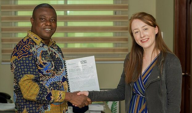 Paula McGregor (Space Programme Manager, Ecometrica) and Mr John Allotey, Chief Executive of the Ghana Forestry Commission signing the agreement in summer 2019. Photo taken by Prince Boama.